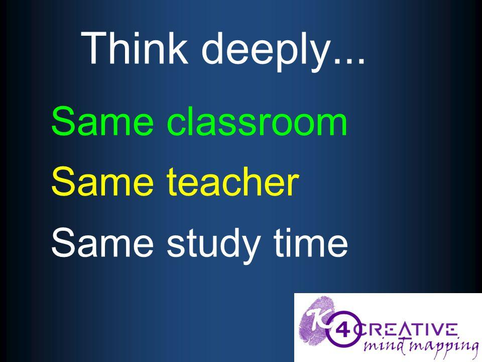 Same classroom Same teacher Same study time Think deeply...