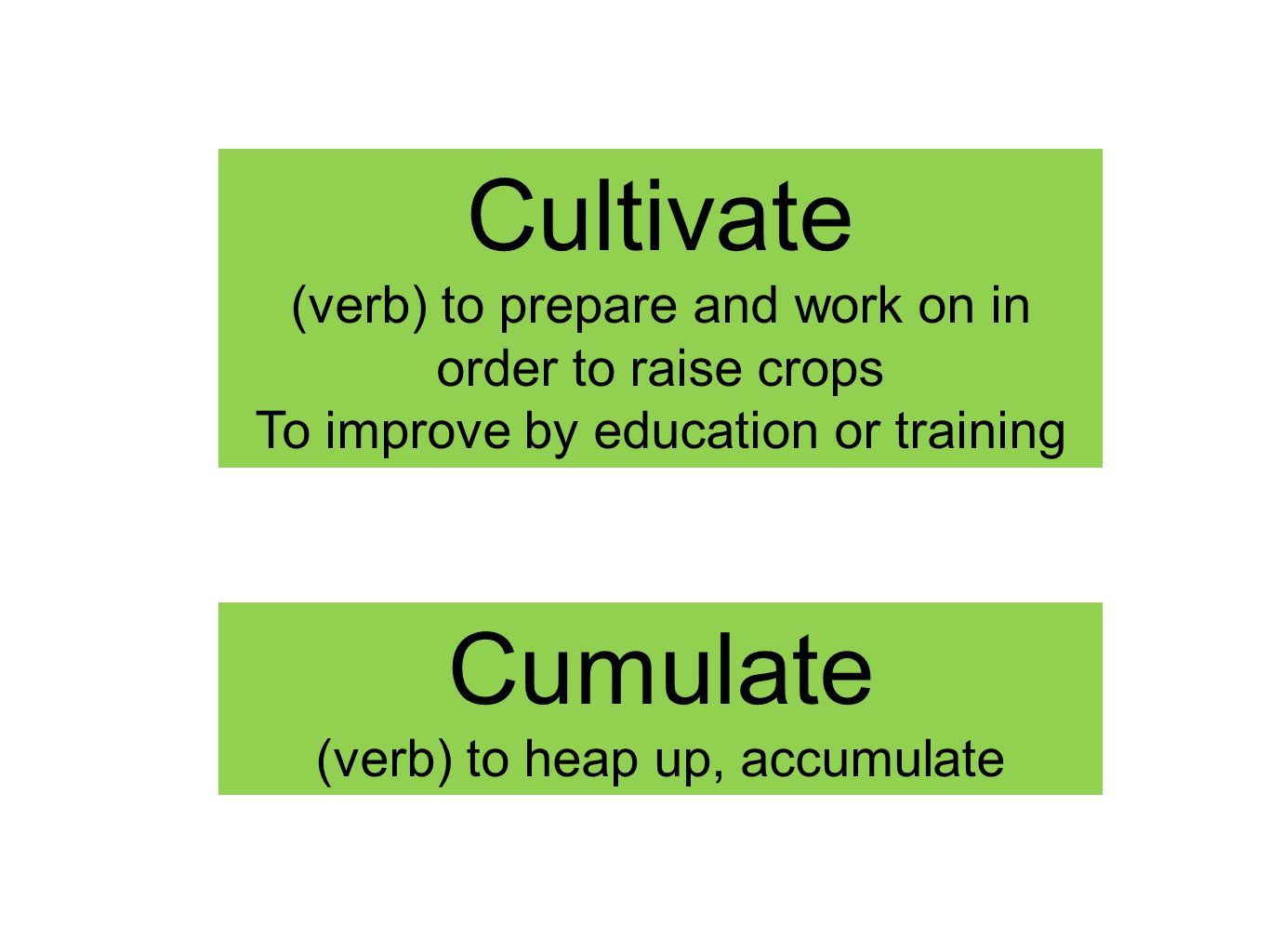 Cultivate (verb) to prepare and work on in order to raise crops To improve by education or training Cumulate (verb) to heap up, accumulate