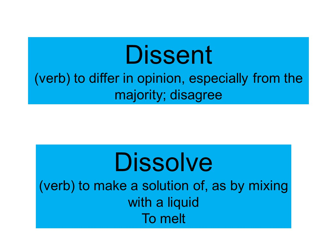 Dissent (verb) to differ in opinion, especially from the majority; disagree Dissolve (verb) to make a solution of, as by mixing with a liquid To melt
