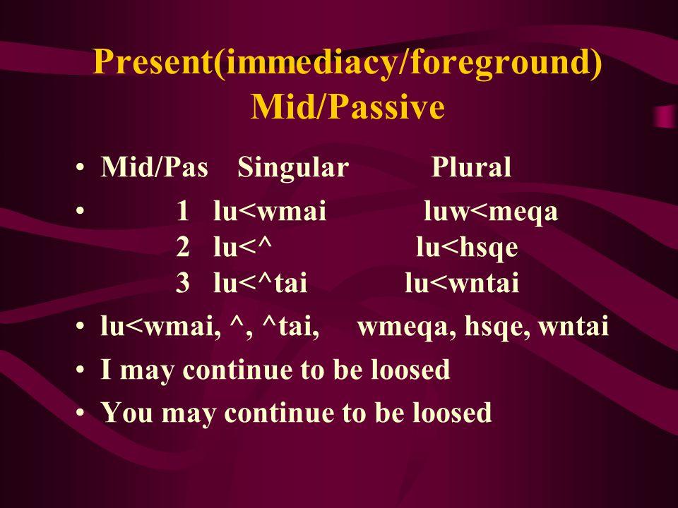Present(immediacy/foreground) Mid/Passive Mid/Pas Singular Plural 1 lu<wmai luw<meqa 2 lu<^ lu<hsqe 3 lu<^tai lu<wntai lu<wmai, ^, ^tai, wmeqa, hsqe, wntai I may continue to be loosed You may continue to be loosed