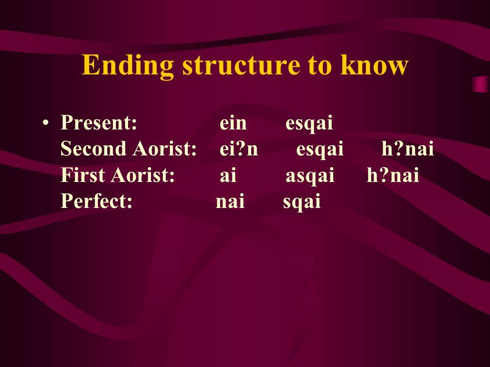 Ending structure to know Present: ein esqai Second Aorist: ei n esqai h nai First Aorist: ai asqai h nai Perfect: nai sqai