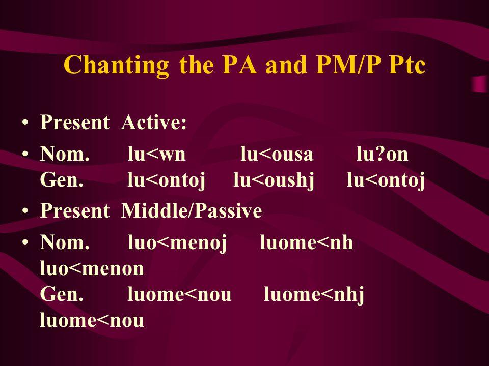 Chanting the PA and PM/P Ptc Present Active: Nom. lu<wn lu<ousa lu on Gen.