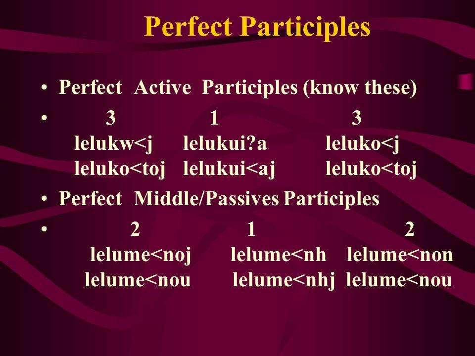 Perfect Participles Perfect Active Participles (know these) 3 1 3 lelukw<j lelukui a leluko<j leluko<tojlelukui<aj leluko<toj Perfect Middle/Passives Participles 2 1 2 lelume<nojlelume<nh lelume<non lelume<nou lelume<nhj lelume<nou
