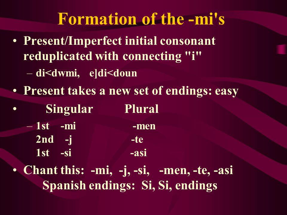 Formation of the - mi s Present/Imperfect initial consonant reduplicated with connecting i –di<dwmi, e]di<doun Present takes a new set of endings: easy Singular Plural –1st -mi -men 2nd -j -te 1st -si -asi Chant this: - mi, -j, -si, -men, -te, -asi Spanish endings: Si, Si, endings