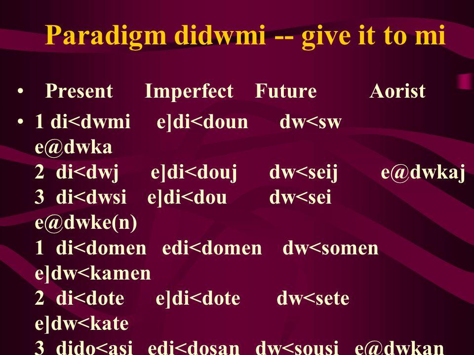Paradigm didwmi -- give it to mi Present Imperfect Future Aorist 1 di<dwmi e]di<doun dw<sw e@dwka 2 di<dwj e]di<douj dw<seij e@dwkaj 3 di<dwsi e]di<dou dw<sei e@dwke(n) 1 di<domen edi<domen dw<somen e]dw<kamen 2 di<dote e]di<dote dw<sete e]dw<kate 3 dido<asi edi<dosan dw<sousi e@dwkan Perfect redupicate a d on the front of the Aorist Perfect: de<dwka, de<dwkaj, de<dwke, …