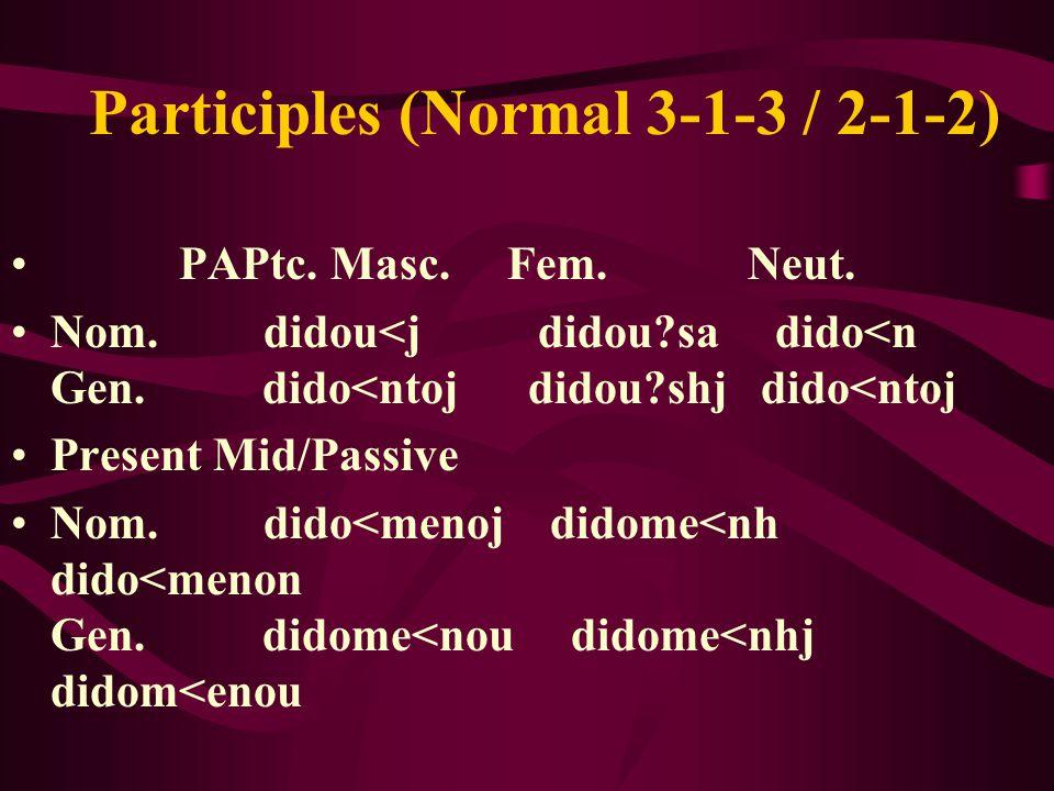 Participles (Normal 3-1-3 / 2-1-2) PAPtc. Masc. Fem.