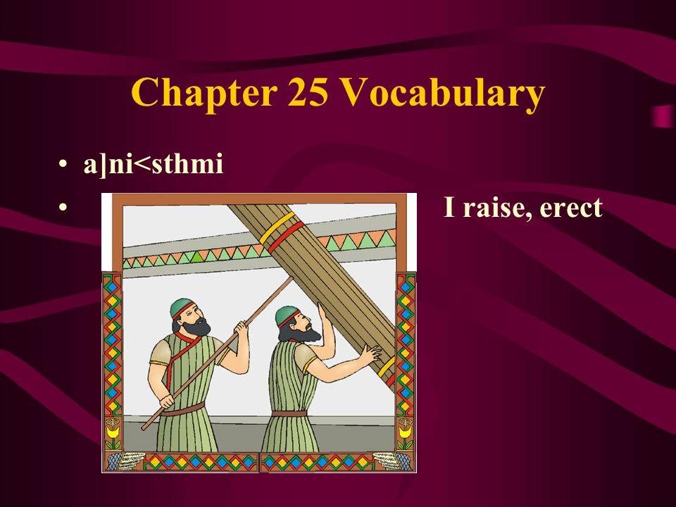 Chapter 25 Vocabulary a]ni<sthmi I raise, erect