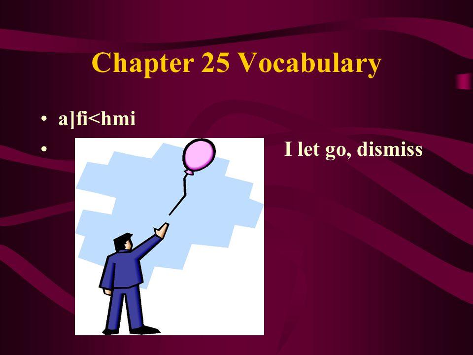 Chapter 25 Vocabulary a]fi<hmi I let go, dismiss
