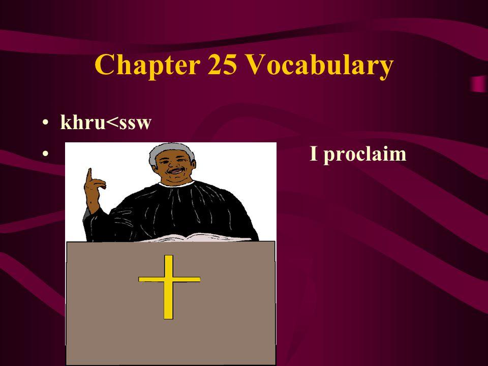 Chapter 25 Vocabulary khru<ssw I proclaim