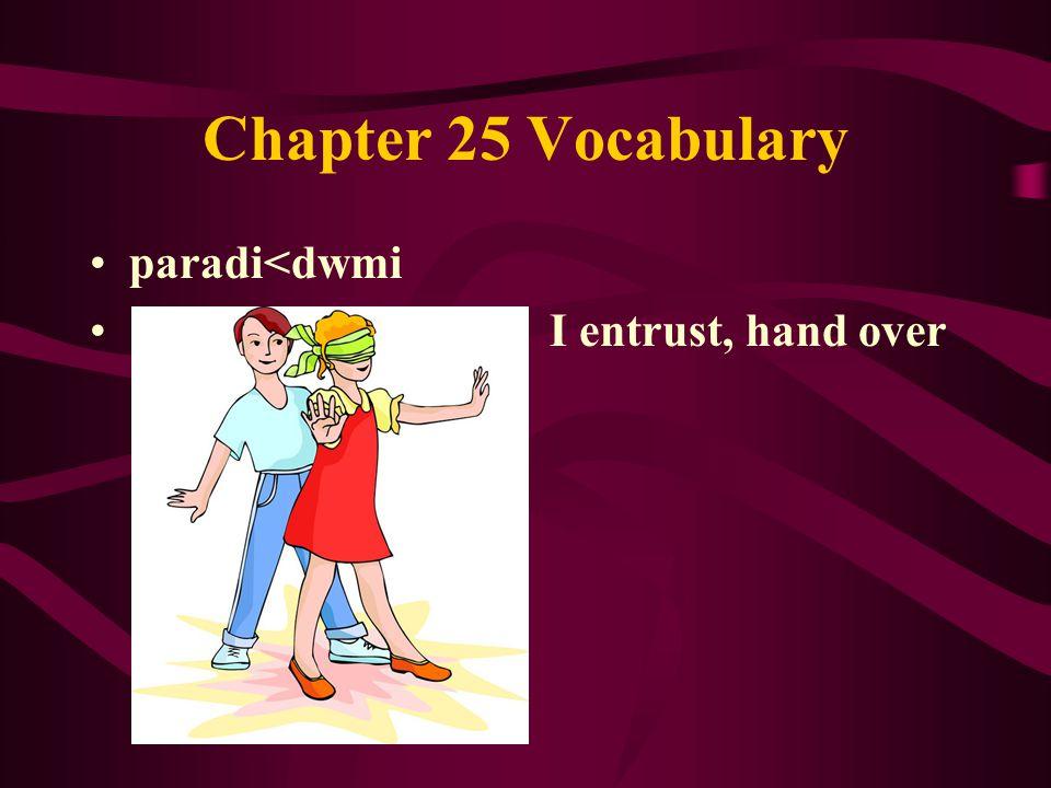 Chapter 25 Vocabulary paradi<dwmi I entrust, hand over