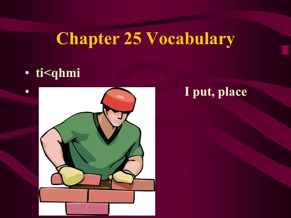 Chapter 25 Vocabulary ti<qhmi I put, place