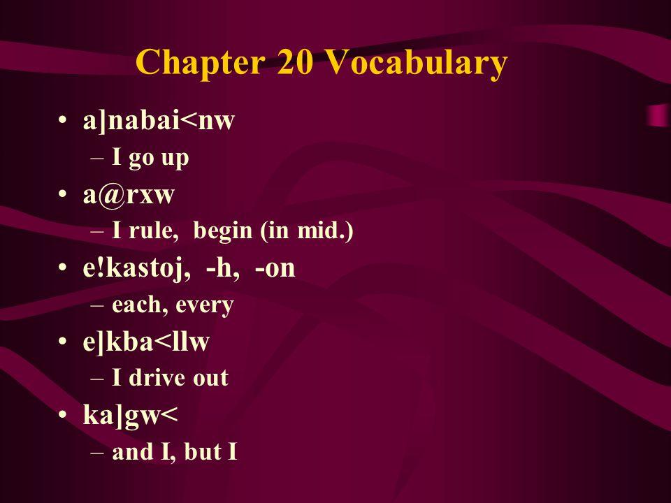 Chapter 20 Vocabulary a]nabai<nw –I go up a@rxw –I rule, begin (in mid.) e!kastoj, -h, -on –each, every e]kba<llw –I drive out ka]gw< –and I, but I