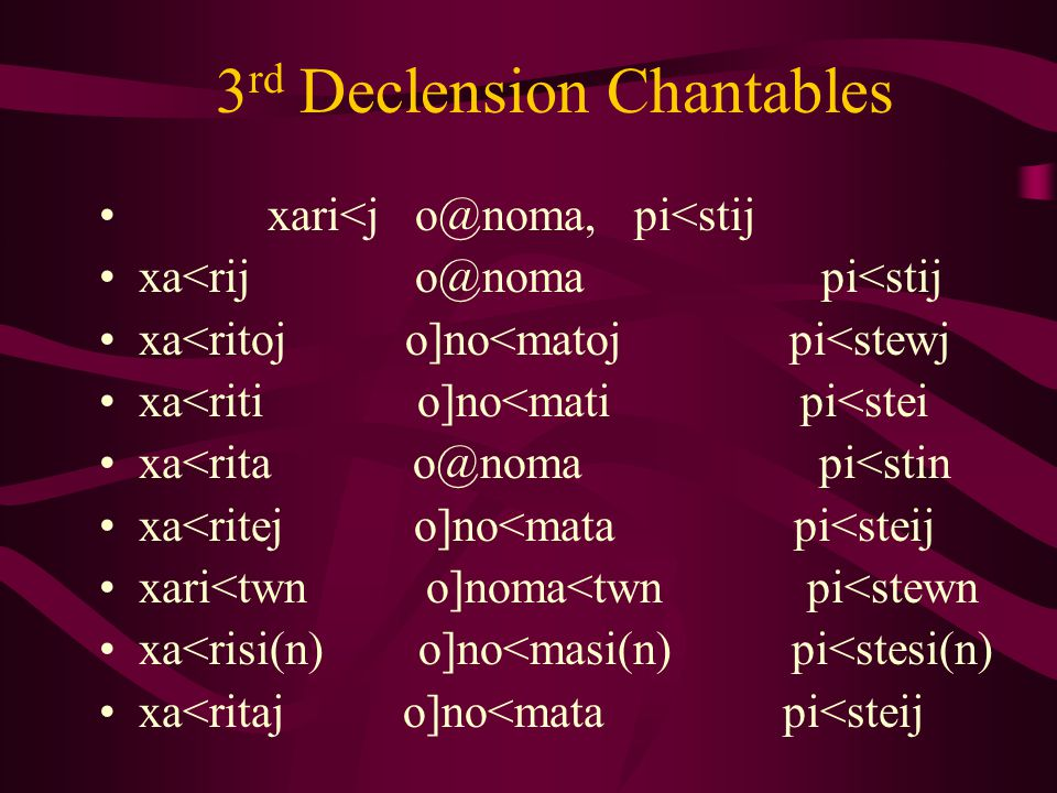 3 rd Declension Chantables xari<j o@noma, pi<stij xa<rij o@noma pi<stij xa<ritoj o]no<matoj pi<stewj xa<riti o]no<mati pi<stei xa<rita o@noma pi<stin xa<ritej o]no<mata pi<steij xari<twn o]noma<twn pi<stewn xa<risi(n) o]no<masi(n) pi<stesi(n) xa<ritaj o]no<mata pi<steij