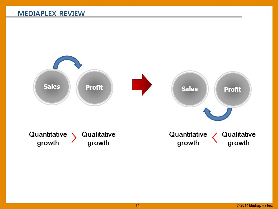 Profit Sales Profit Sales Quantitative growth 〉 Qualitative growth Quantitative growth 〈 Qualitative growth MEDIAPLEX REVIEW 11 © 2014 Mediaplex Inc.