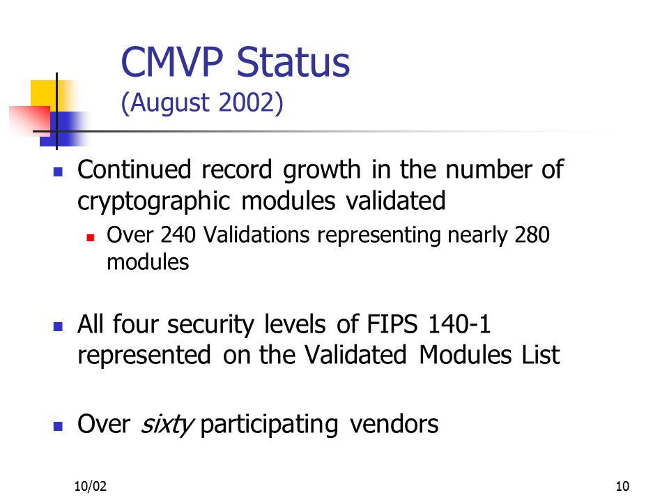 10/0210 CMVP Status (August 2002) Continued record growth in the number of cryptographic modules validated Over 240 Validations representing nearly 280 modules All four security levels of FIPS 140-1 represented on the Validated Modules List Over sixty participating vendors