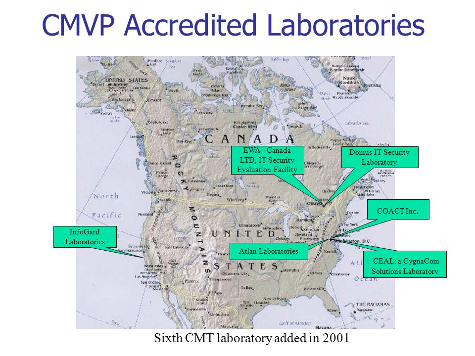 CMVP Accredited Laboratories InfoGard Laboratories CEAL: a CygnaCom Solutions Laboratory COACT Inc.
