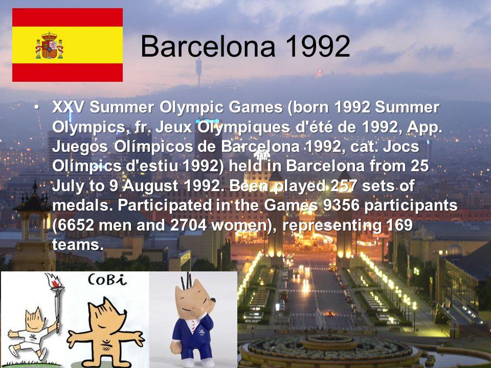 Barcelona 1992 XXV Summer Olympic Games (born 1992 Summer Olympics, fr.