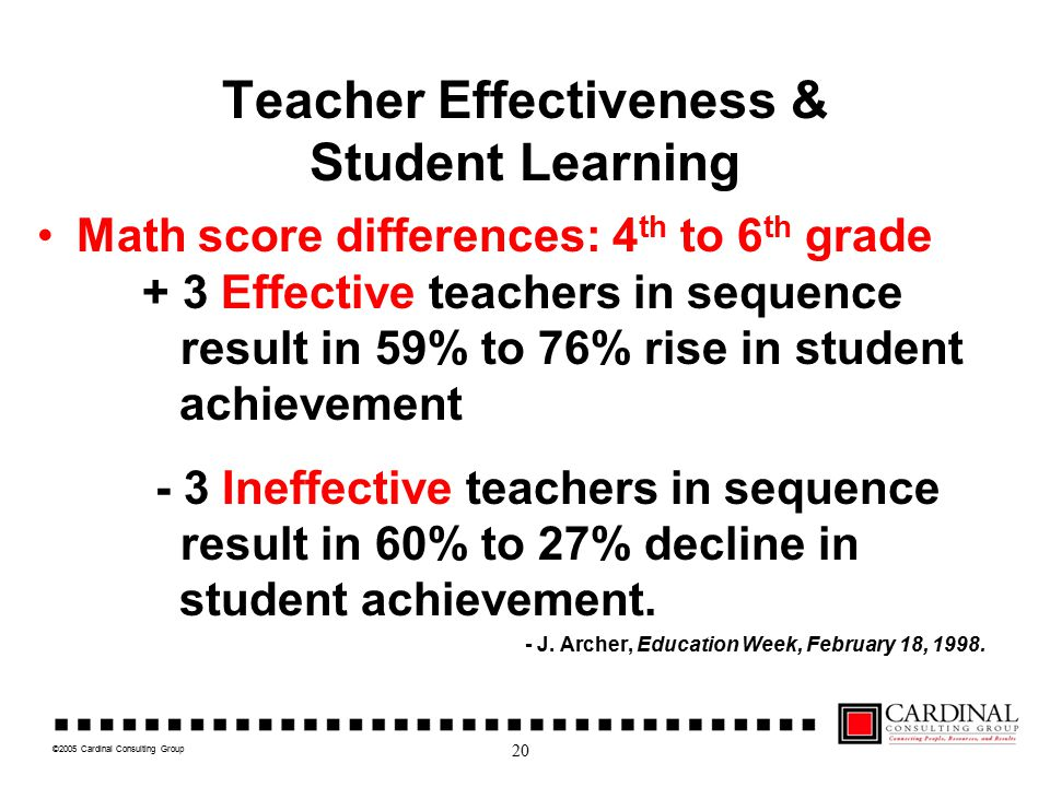 ©2005 Cardinal Consulting Group Teacher Effectiveness & Student Learning Math score differences: 4 th to 6 th grade + 3 Effective teachers in sequence result in 59% to 76% rise in student achievement - 3 Ineffective teachers in sequence result in 60% to 27% decline in student achievement.