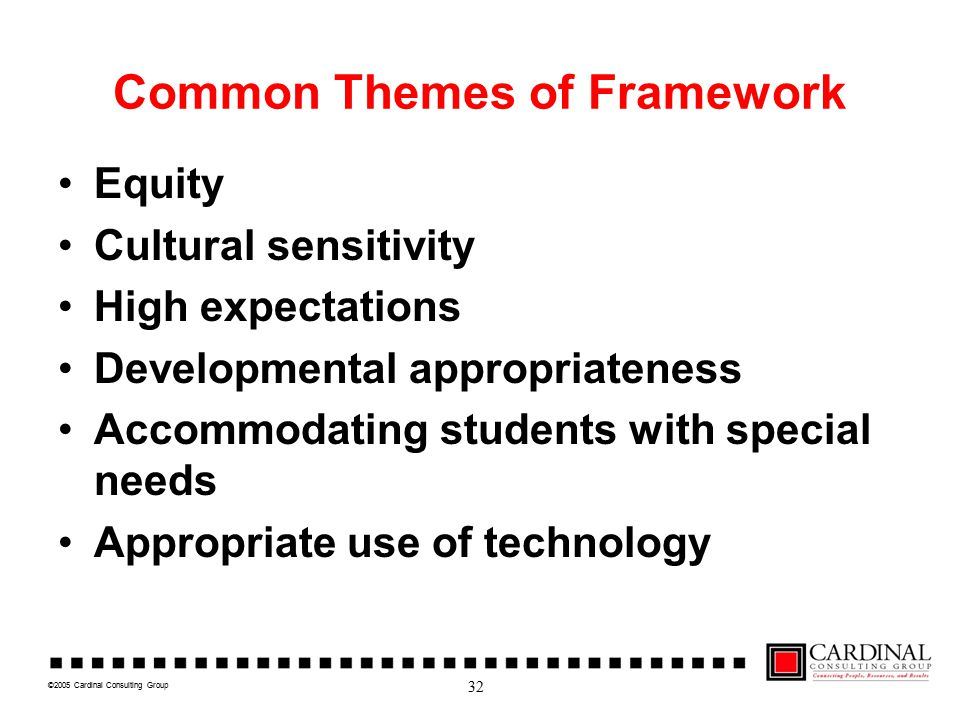 ©2005 Cardinal Consulting Group Common Themes of Framework Equity Cultural sensitivity High expectations Developmental appropriateness Accommodating students with special needs Appropriate use of technology 32