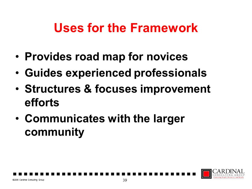 ©2005 Cardinal Consulting Group Uses for the Framework Provides road map for novices Guides experienced professionals Structures & focuses improvement efforts Communicates with the larger community 39