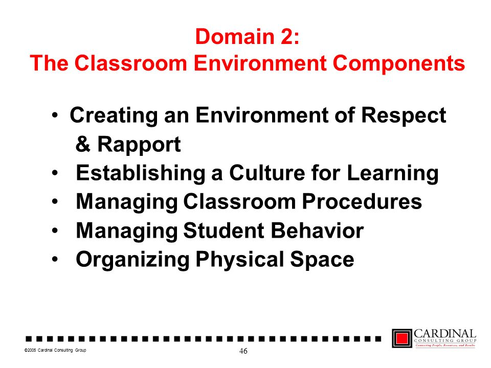 ©2005 Cardinal Consulting Group Domain 2: The Classroom Environment Components Creating an Environment of Respect & Rapport Establishing a Culture for