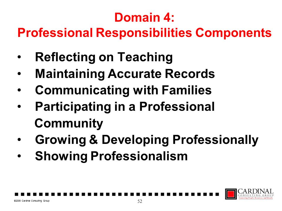 ©2005 Cardinal Consulting Group Domain 4: Professional Responsibilities Components Reflecting on Teaching Maintaining Accurate Records Communicating with Families Participating in a Professional Community Growing & Developing Professionally Showing Professionalism 52