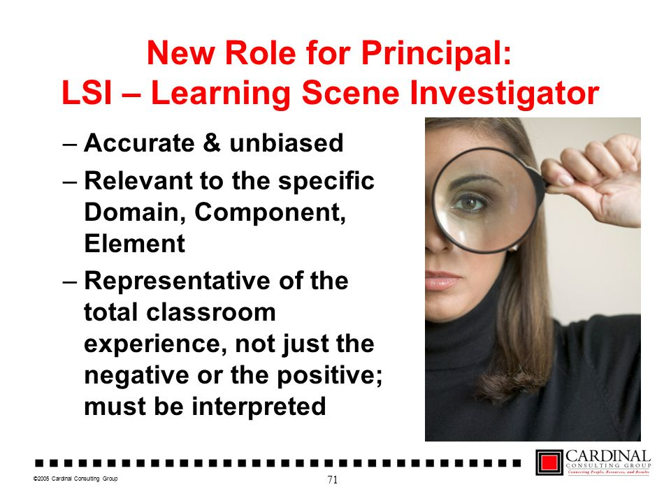 ©2005 Cardinal Consulting Group New Role for Principal: LSI – Learning Scene Investigator –Accurate & unbiased –Relevant to the specific Domain, Compo