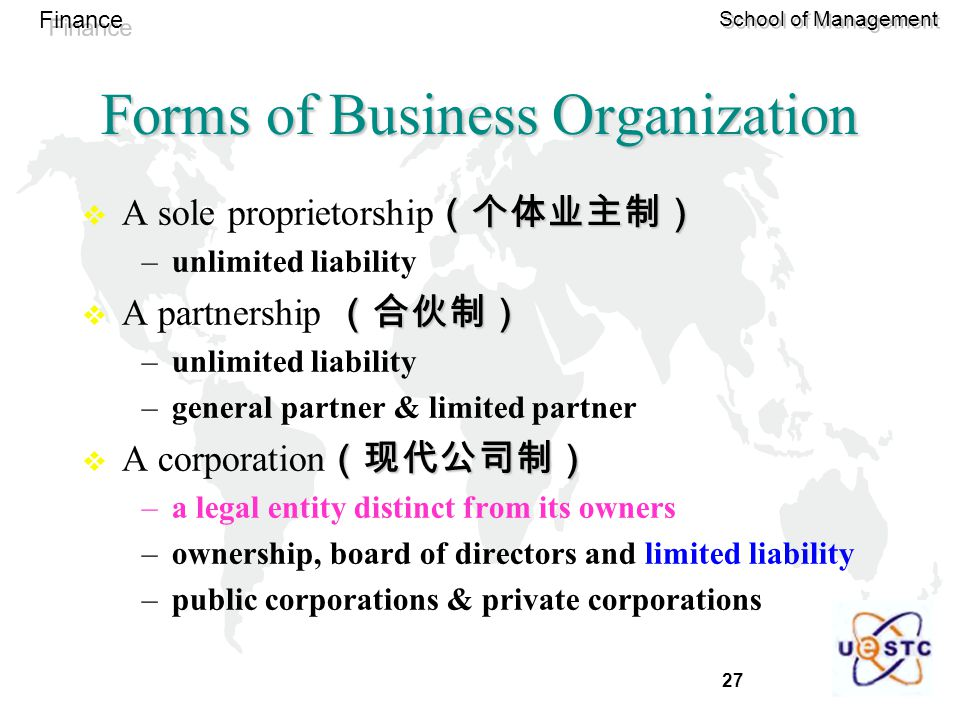 27 Finance School of Management Forms of Business Organization (个体业主制)  A sole proprietorship (个体业主制) –unlimited liability (合伙制)  A partnership (合伙制) –unlimited liability –general partner & limited partner (现代公司制)  A corporation (现代公司制) –a legal entity distinct from its owners –ownership, board of directors and limited liability –public corporations & private corporations