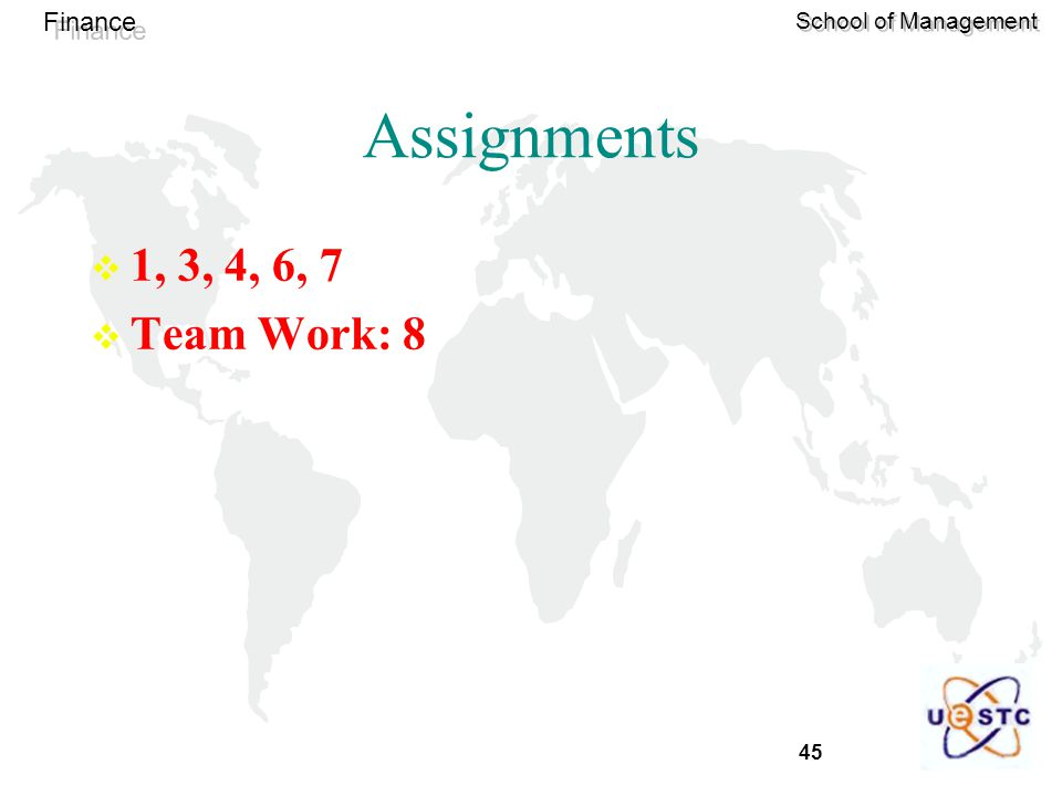 45 Finance School of Management Assignments  1, 3, 4, 6, 7  Team Work: 8