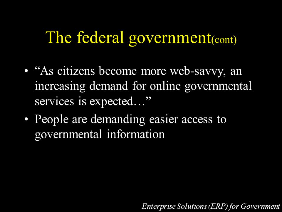 The federal government (cont) As citizens become more web-savvy, an increasing demand for online governmental services is expected… People are demanding easier access to governmental information Enterprise Solutions (ERP) for Government