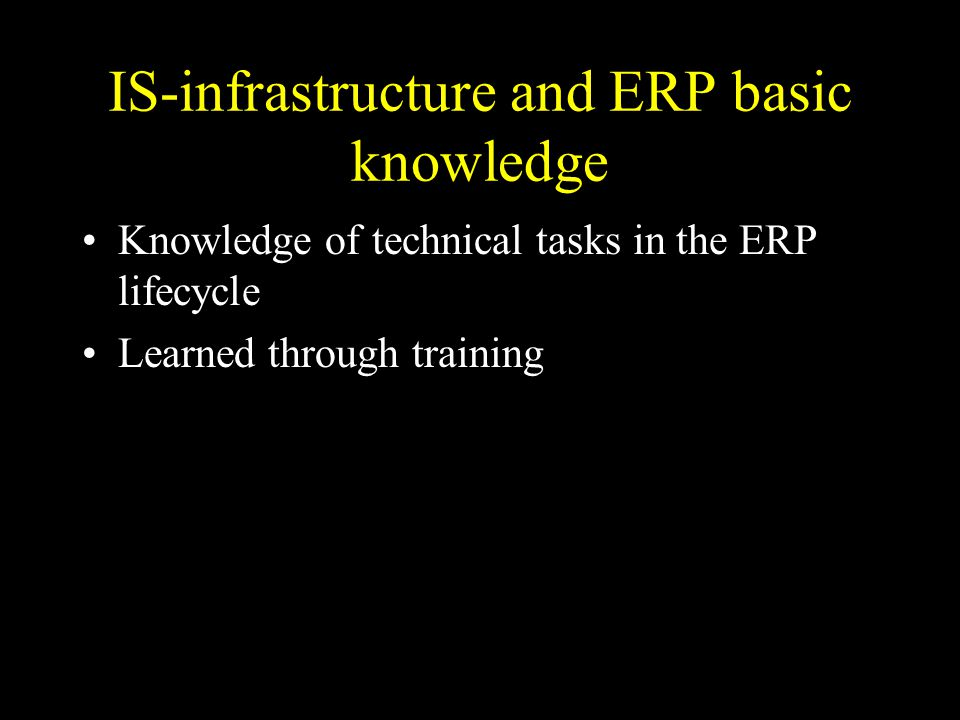IS-infrastructure and ERP basic knowledge Knowledge of technical tasks in the ERP lifecycle Learned through training