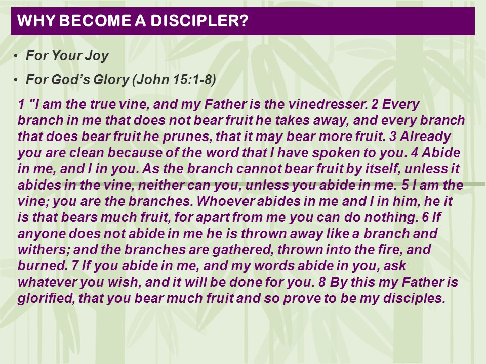 WHY BECOME A DISCIPLER.