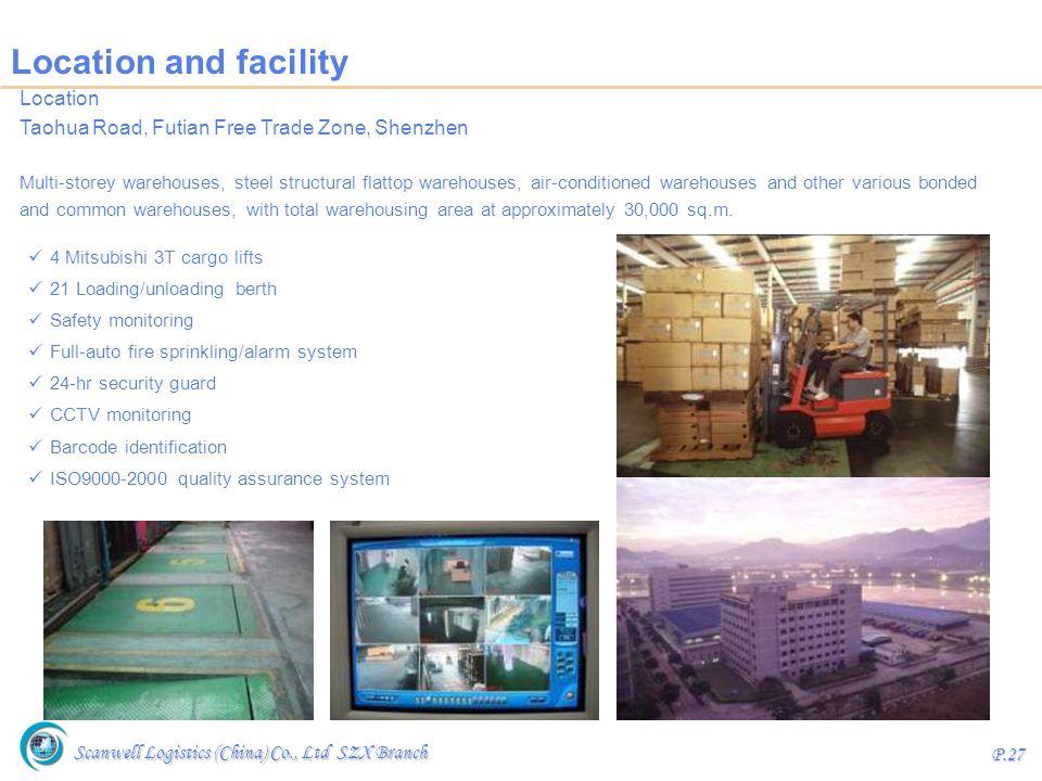 Scanwell Logistics (China) Co., Ltd SZX Branch P.27 Location and facility Location Taohua Road, Futian Free Trade Zone, Shenzhen Multi-storey warehous