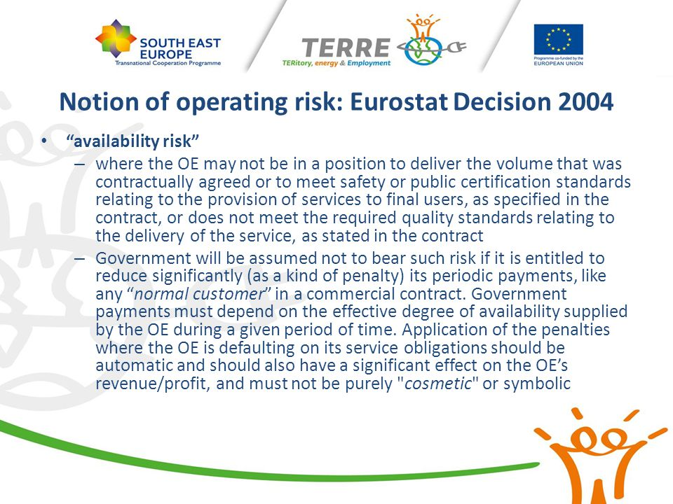 "Notion of operating risk: Eurostat Decision 2004 ""availability risk"" – where the OE may not be in a position to deliver the volume that was contractua"