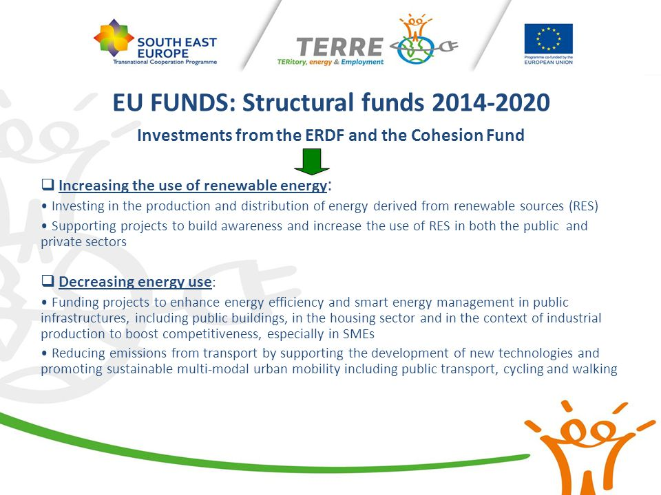 EU FUNDS: Structural funds 2014-2020 Investments from the ERDF and the Cohesion Fund  Increasing the use of renewable energy : Investing in the produ