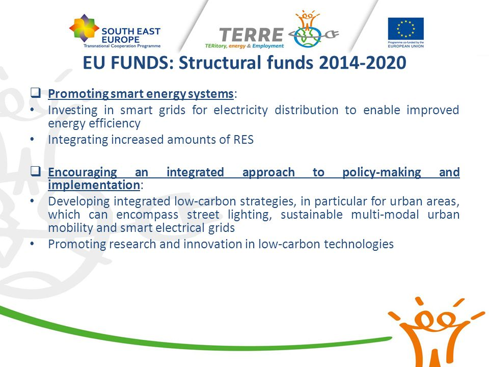 EU FUNDS: Structural funds 2014-2020  Promoting smart energy systems: Investing in smart grids for electricity distribution to enable improved energy