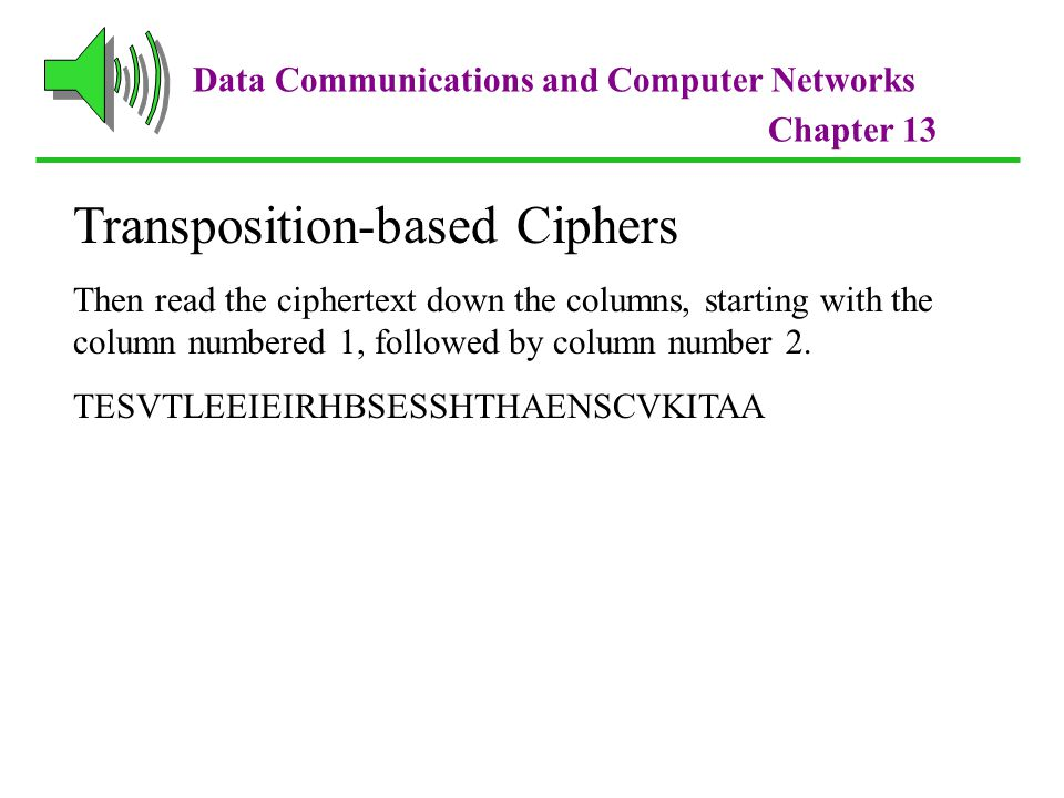 Data Communications and Computer Networks Chapter 13 Transposition-based Ciphers Then read the ciphertext down the columns, starting with the column numbered 1, followed by column number 2.