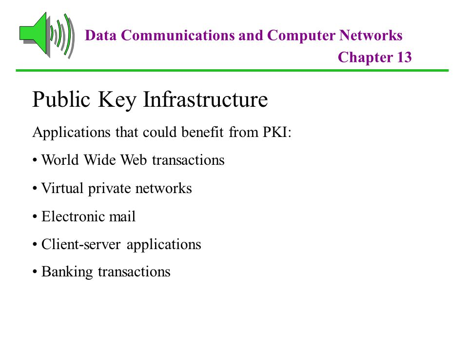 Data Communications and Computer Networks Chapter 13 Public Key Infrastructure Applications that could benefit from PKI: World Wide Web transactions Virtual private networks Electronic mail Client-server applications Banking transactions