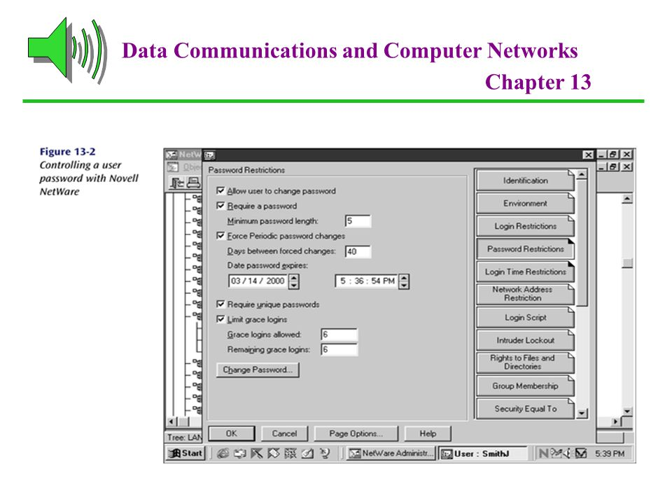 Data Communications and Computer Networks Chapter 13 Passwords and ID Systems Many new forms of passwords are emerging: Fingerprints Face prints Retina scans and iris scans Voice prints Ear prints