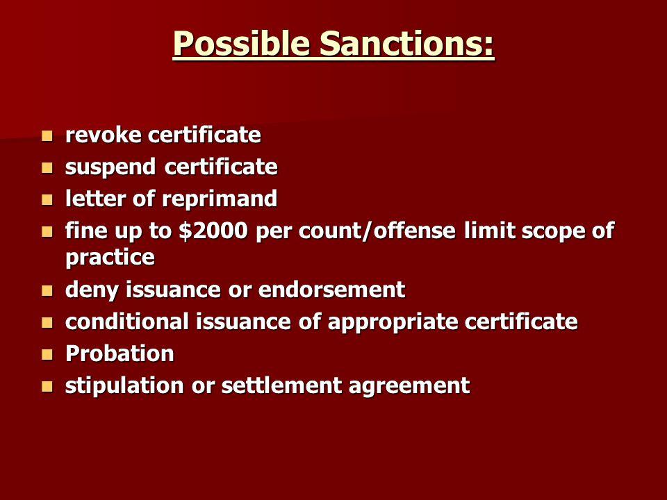 Possible Sanctions: revoke certificate revoke certificate suspend certificate suspend certificate letter of reprimand letter of reprimand fine up to $
