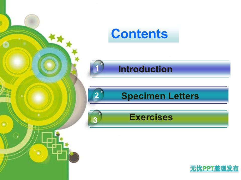 Introduction Exercises 1 3 Contents Specimen Letters 2