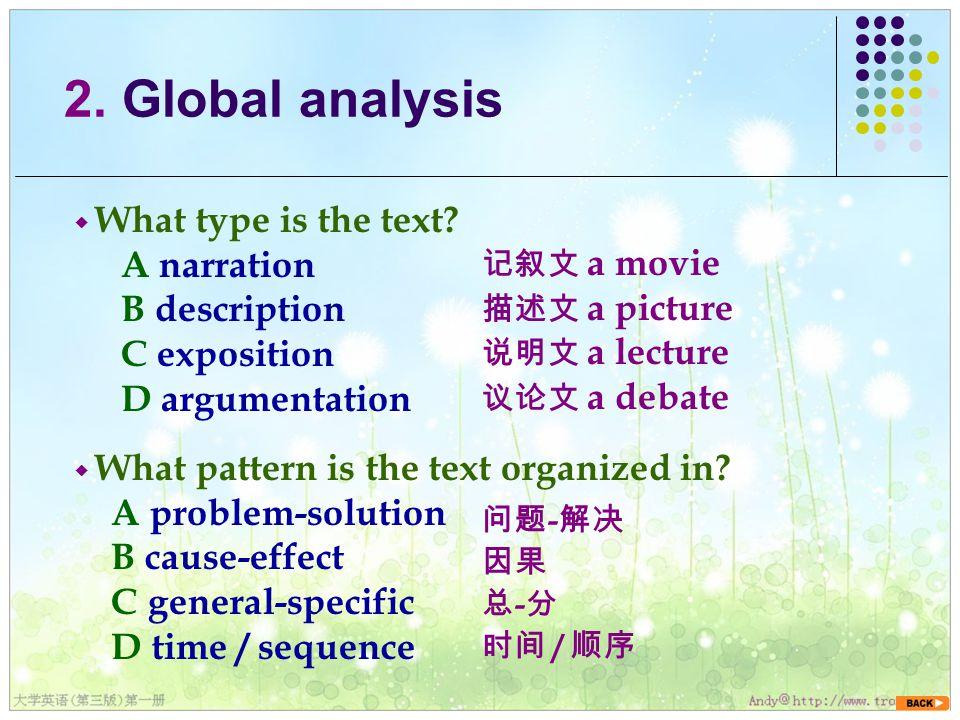 ◆ What type is the text. A narration B description C exposition D argumentation 2.