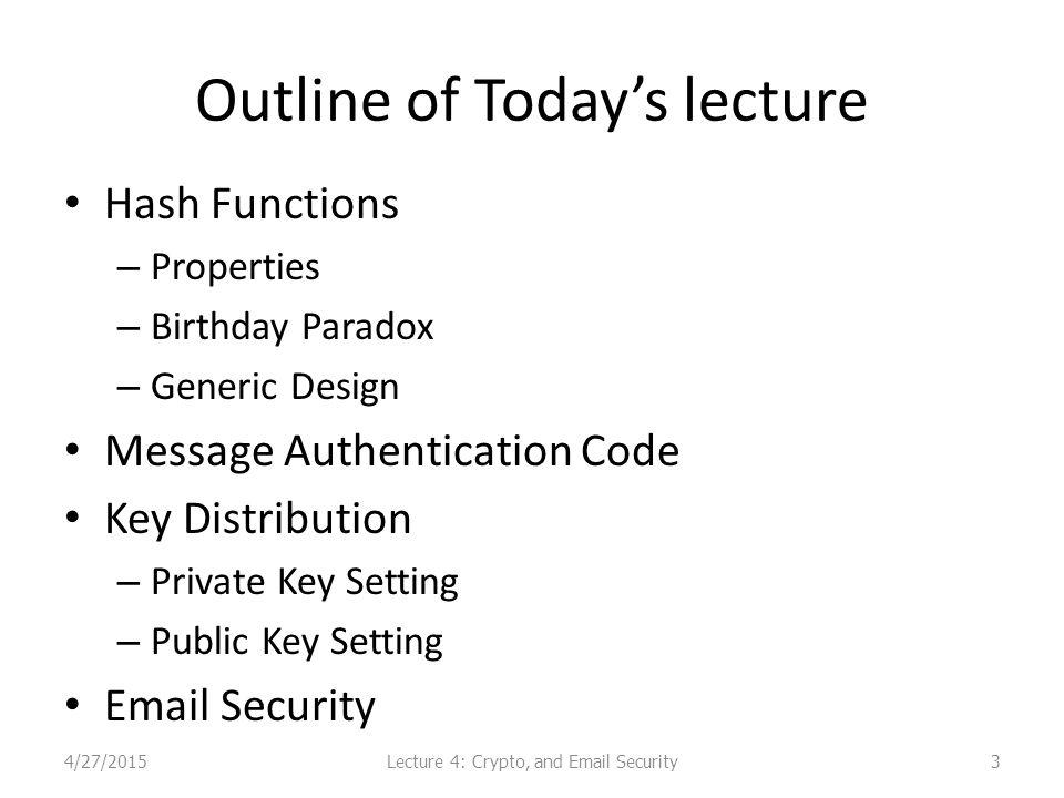 PGP Key Distribution Public keys for encrypting session keys / verifying signatures.