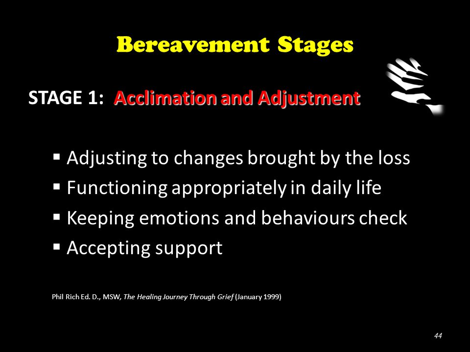 Bereavement Stages Acclimation and Adjustment STAGE 1: Acclimation and Adjustment  Adjusting to changes brought by the loss  Functioning appropriately in daily life  Keeping emotions and behaviours check  Accepting support Phil Rich Ed.
