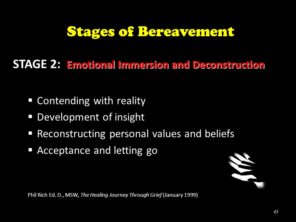 Emotional Immersion and Deconstruction STAGE 2: Emotional Immersion and Deconstruction  Contending with reality  Development of insight  Reconstructing personal values and beliefs  Acceptance and letting go Phil Rich Ed.