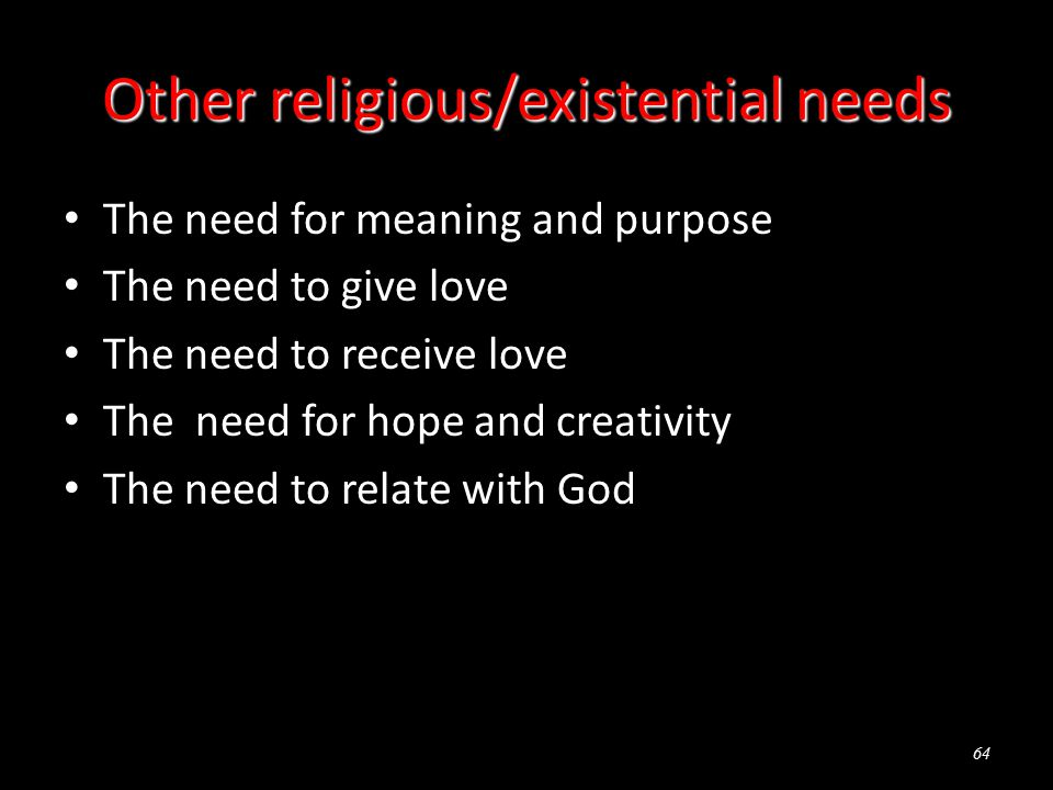 Other religious/existential needs The need for meaning and purpose The need to give love The need to receive love The need for hope and creativity The need to relate with God 64