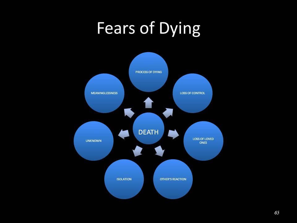 Fears of Dying DEATH PROCESS OF DYINGLOSS OF CONTROL LOSS OF LOVED ONES OTHER'S REACTIONISOLATIONUNKNOWNMEANINGLESSNESS 65