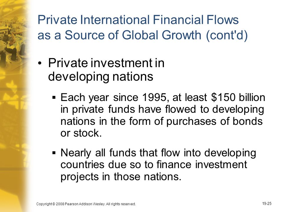 Copyright © 2008 Pearson Addison Wesley. All rights reserved. 19-25 Private International Financial Flows as a Source of Global Growth (cont'd) Privat