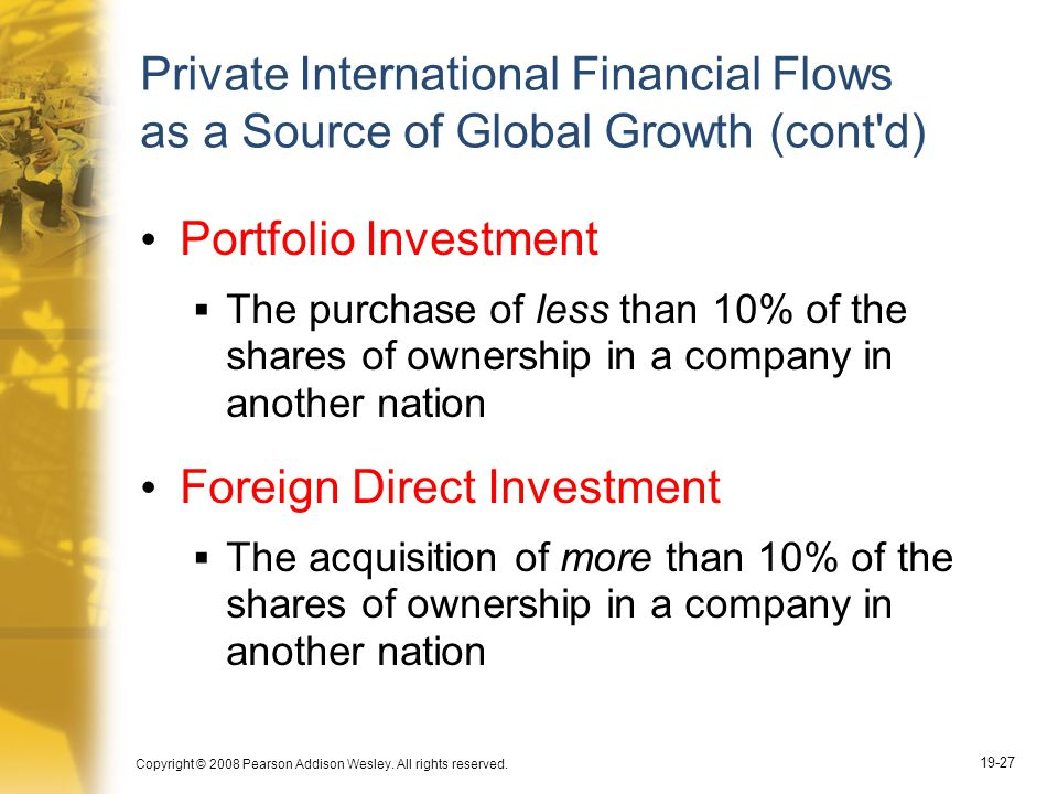 Copyright © 2008 Pearson Addison Wesley. All rights reserved. 19-27 Private International Financial Flows as a Source of Global Growth (cont'd) Portfo