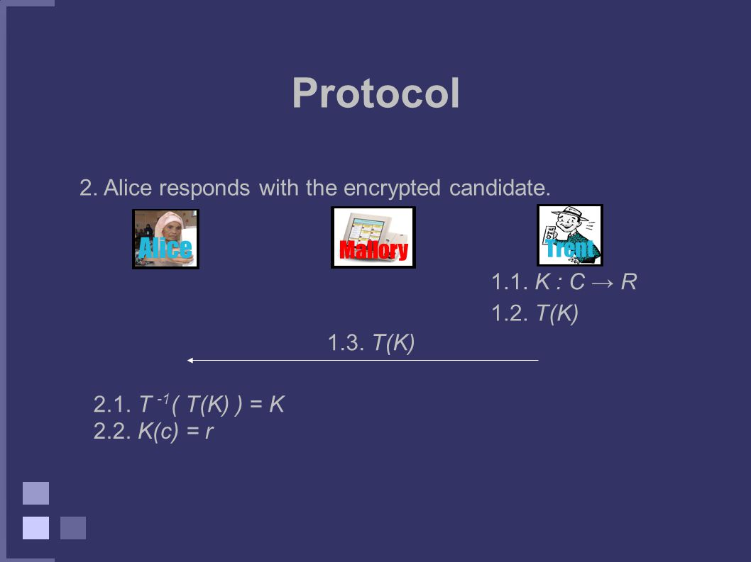 Protocol 2. Alice responds with the encrypted candidate.